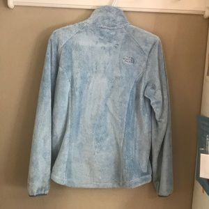 The North Face fuzzy baby blue zip up